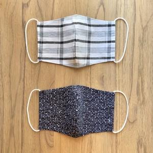 夏用浴衣地マスク チェック・抽象柄 2枚組