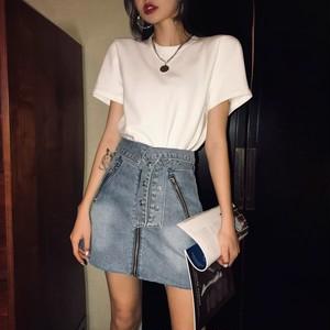 ribbon belt zipper mini skirt