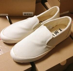 YMC CANVAS slip on キャンバススニーカー cream 白