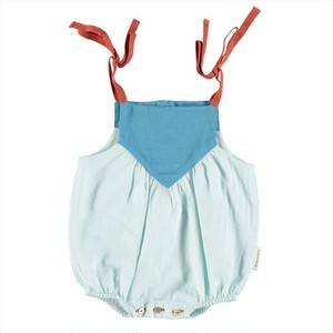 【piupiuchick】 Baby tricolor romper   blues & garnet . voile   (SS21.BB2104A)