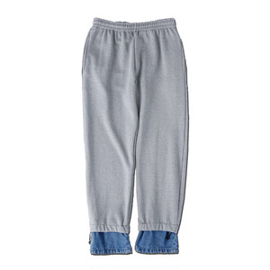 DENIM LAYERD SWEAT PANTS / GRAY