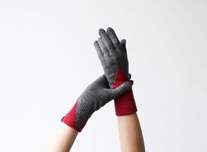 % PERCENT 手袋(FIT:グレー・レッド)裏起毛・スマホ対応・ギフト箱付き(男女兼用)