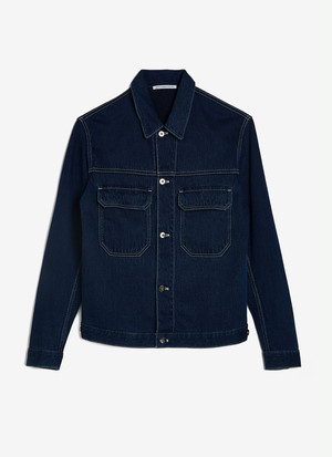 INDIGO DENIM JACKET WITH STITCHING