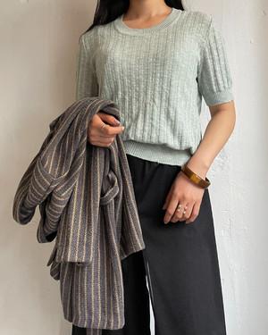 vintage short sleeve summer knit tops-mint-