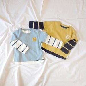 半袖&長袖ボーダー重ね着Tシャツのセット 双子ベビー服2枚セット ボーイズツイン<20ss-bt003r->