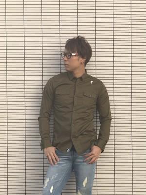 【viver Day off】オリジナルストレッチミリタリーシャツ