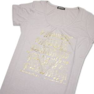 Tシャツ レディース 半袖  白地に五線譜とロゴ:ゴールド Mサイズ 【ゆうパケットOK】3枚まで可 [170036]