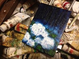 プチアート『夜の雨』油絵