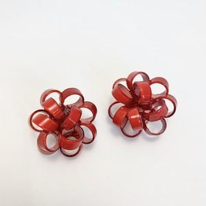 レジンシリーズ ラッピングリボンのイヤリング red
