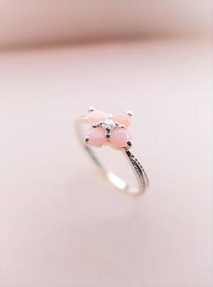 ピンクオパールのfleurette silver ring