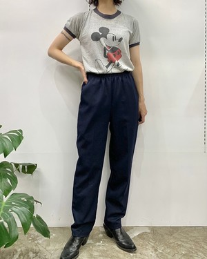 1990s MADE IN USA COVINGTON polyester easy pants navy 【4】