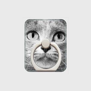 ロシアンブルー おしゃれな猫スマホリング【IMPACT -shirokuro- 】