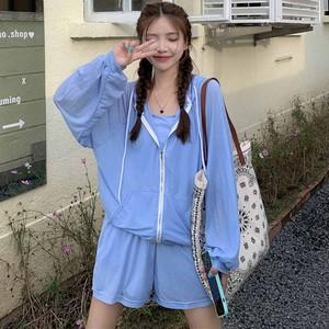 【セット】カジュアル長袖フード付きジッパージャケット+キャミソール+ショートパンツ45265620