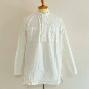 Horse Cloth Band Collar Square Long Shirts Off White