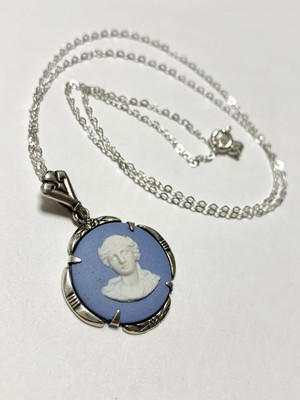 1907's Antique Edwardian Wedgwood Jasperware Cameo Sterling Pendant Necklace Made In England