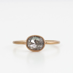 Natural diamond ring /  Oval rosecut