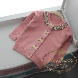 3色展開 size 90 100 110 120 130 ビジュー cardigan カーディガン キッズ 赤ちゃん 羽織もの ピンク 水色 ホワイト リボン かわいい プリンセス リボン お嬢様風 かわいめ