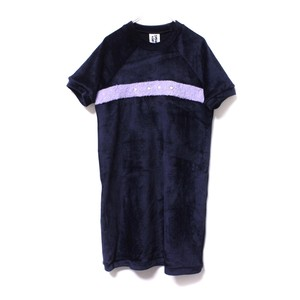 【SOMEWHERE NOWHERE】VELOUR DAISY DRESS navy