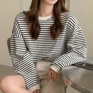 【トップス】話題沸騰中 韓国系 キュート プルオーバー ストライプ柄  Tシャツ45021299