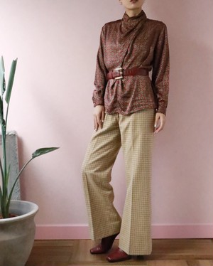 light brown checked wide pants