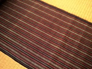 本場久米島紬 021 濃茶と赤茶の縞