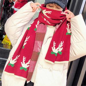 【小物】キュートニットプリント暖かいマフラ25061220