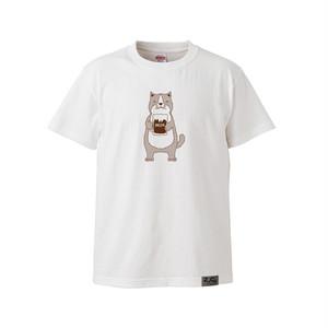 【Tシャツ】ネコおっさん ビール