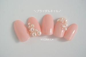 ピンクパールブライダルネイル
