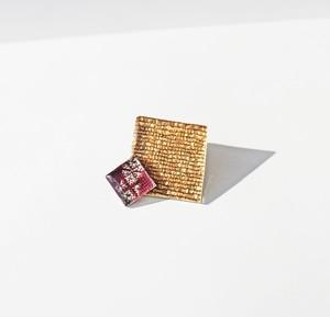 博多織樹脂ブローチ(RB-43)紫 パープル ゴールド 金 ラメ レジン 和装 着物 浴衣