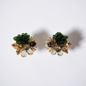 203-5 粒花 green & brown & black clear