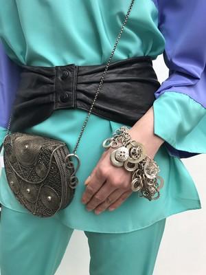 【Belt】vintage black leather wide belt