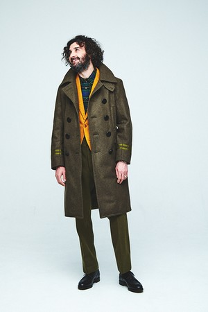 Coat,Men's,NAVY,Officer,Double-Beasted (13star Button Long PeaCoat) / CMAWE03