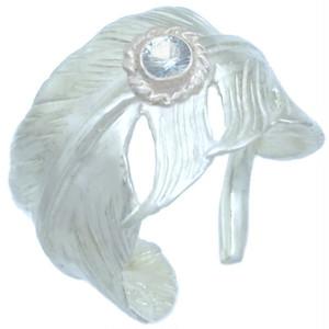 (12月)タンザナイト ホワイト フリー フェザー シルバー リング 誕生石*BR-1046