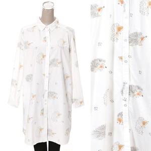 ハリネズミ はりねずみ プリントシャツ ワンピース チュニック hedgehog 服