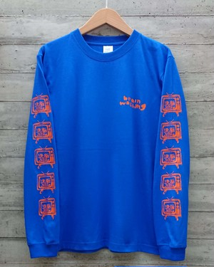 洗脳TV~brain washing/long sleeves T-shirts col.royal blue
