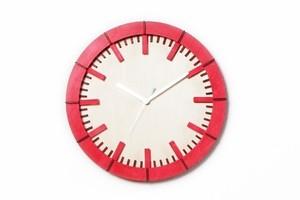 「モダン」 (チェリーレッド)木製掛け時計