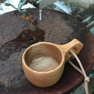 木製マグカップ 『ケヤキ』ククサ 内面漆仕上げ his-138 北欧
