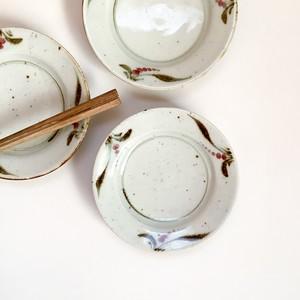 砥部焼 中田窯 - 5寸リム皿 - 釉裏紅 / 水引草