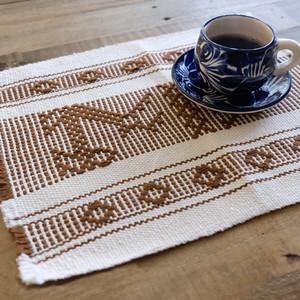 手織りのランチョンマット / Brown /211c/ MEXICO メキシコ