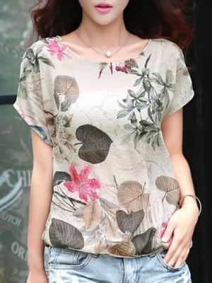 【tops】Summer fashion print chiffon shirt