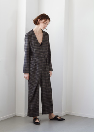 【予約】Plaid overwrap jump suits