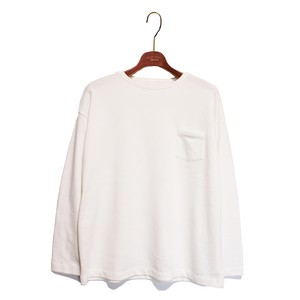 L/S Loose Pocket Tee -white <LSD-AH3T4>