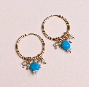 Turquoise & Pearl earrings | MIHO meets RUKUS