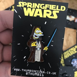 "THUMBS""Abe x Springfield Wars Pin Badge"""