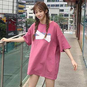 【トップス】ファッションドロップショルダープリントTシャツ