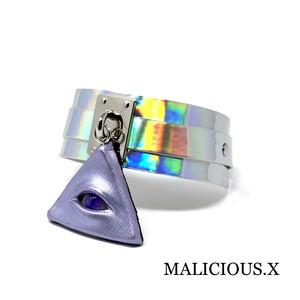 cat eye metallic big choker(metallic purple)/ violet