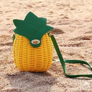 【福岡】 レディース バッグ パイナップル かご カゴ フルーツ a952