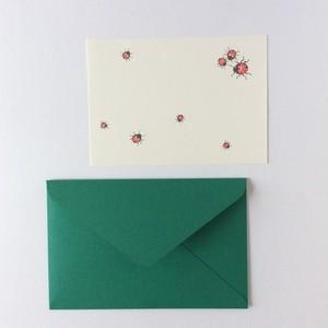 テントウムシのカードと封筒のセット