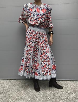 Diane freis white floral  & leaf print dress ( ダイアンフレイス 花柄 ワンピース )