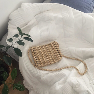 Pouch in Wood beads bag 93082 ウッド ビーズ バッグ
